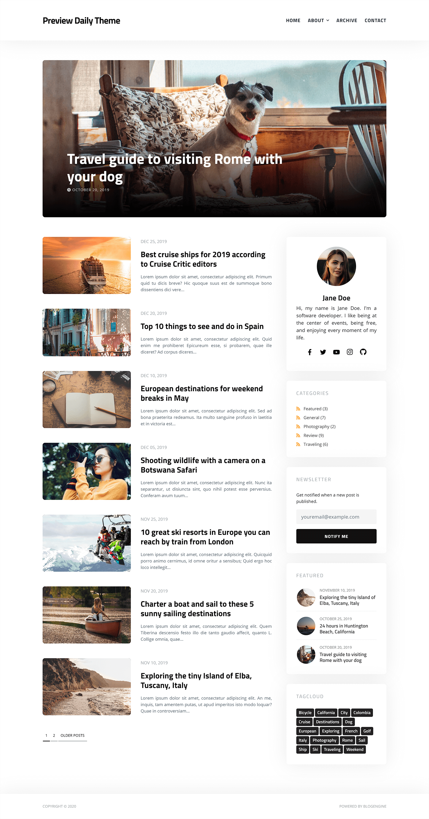 Daily BlogEngine Theme - Home Page